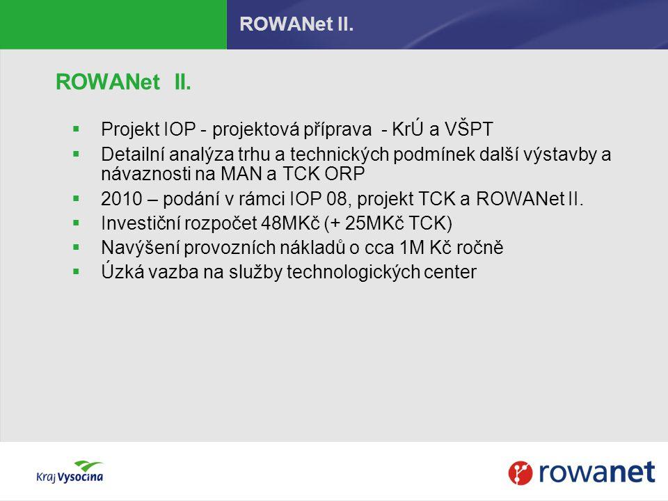 ROWANet II.  Projekt IOP - projektová příprava - KrÚ a VŠPT  Detailní analýza trhu a technických podmínek další výstavby a návaznosti na MAN a TCK O