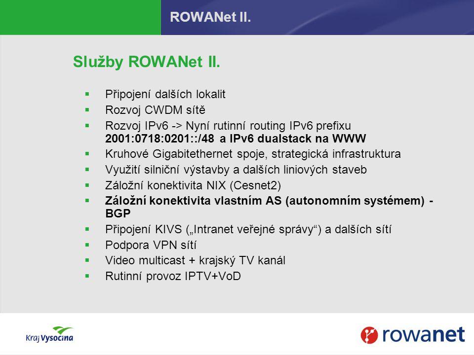 ROWANet II. Služby ROWANet II.  Připojení dalších lokalit  Rozvoj CWDM sítě  Rozvoj IPv6 -> Nyní rutinní routing IPv6 prefixu 2001:0718:0201::/48 a