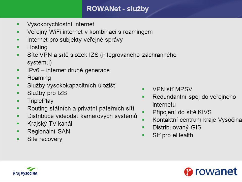 ROWANet - služby  Vysokorychlostní internet  Veřejný WiFi internet v kombinaci s roamingem  Internet pro subjekty veřejné správy  Hosting  Sítě V
