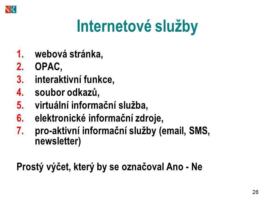 26 Internetové služby 1.webová stránka, 2.OPAC, 3.interaktivní funkce, 4.soubor odkazů, 5.virtuální informační služba, 6.elektronické informační zdroje, 7.pro-aktivní informační služby (email, SMS, newsletter) Prostý výčet, který by se označoval Ano - Ne