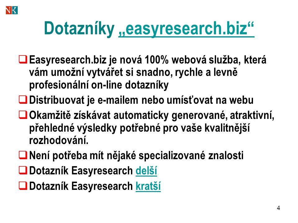 """4 Dotazníky """"easyresearch.biz """"easyresearch.biz  Easyresearch.biz je nová 100% webová služba, která vám umožní vytvářet si snadno, rychle a levně profesionální on-line dotazníky  Distribuovat je e-mailem nebo umísťovat na webu  Okamžitě získávat automaticky generované, atraktivní, přehledné výsledky potřebné pro vaše kvalitnější rozhodování."""