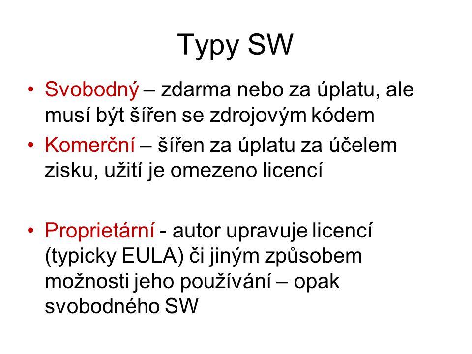 Typy SW Svobodný – zdarma nebo za úplatu, ale musí být šířen se zdrojovým kódem Komerční – šířen za úplatu za účelem zisku, užití je omezeno licencí Proprietární - autor upravuje licencí (typicky EULA) či jiným způsobem možnosti jeho používání – opak svobodného SW