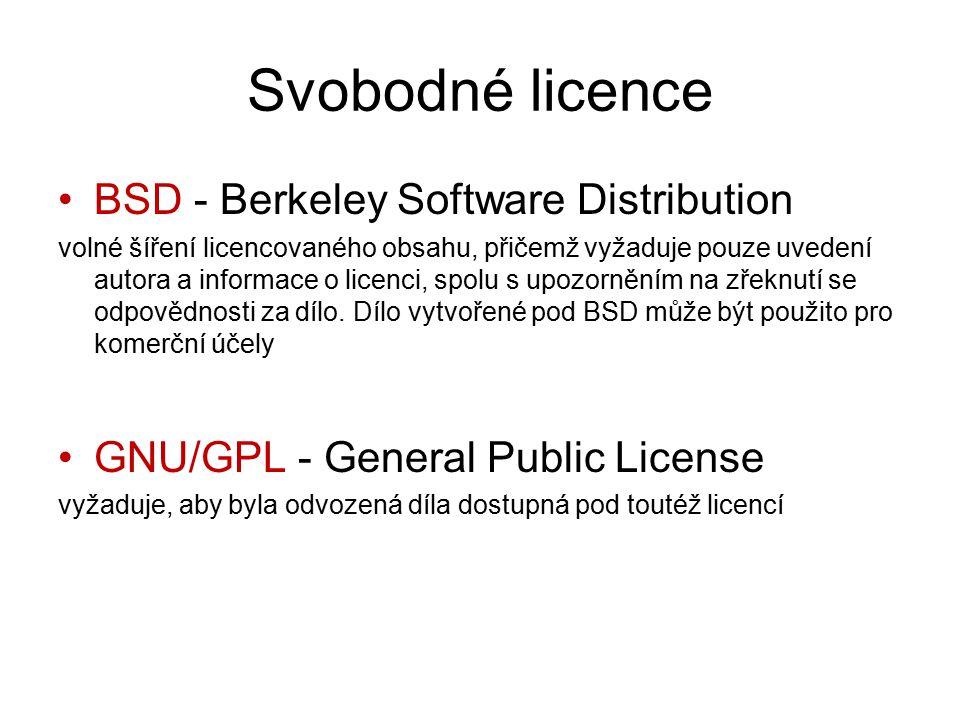 Svobodné licence BSD - Berkeley Software Distribution volné šíření licencovaného obsahu, přičemž vyžaduje pouze uvedení autora a informace o licenci, spolu s upozorněním na zřeknutí se odpovědnosti za dílo.
