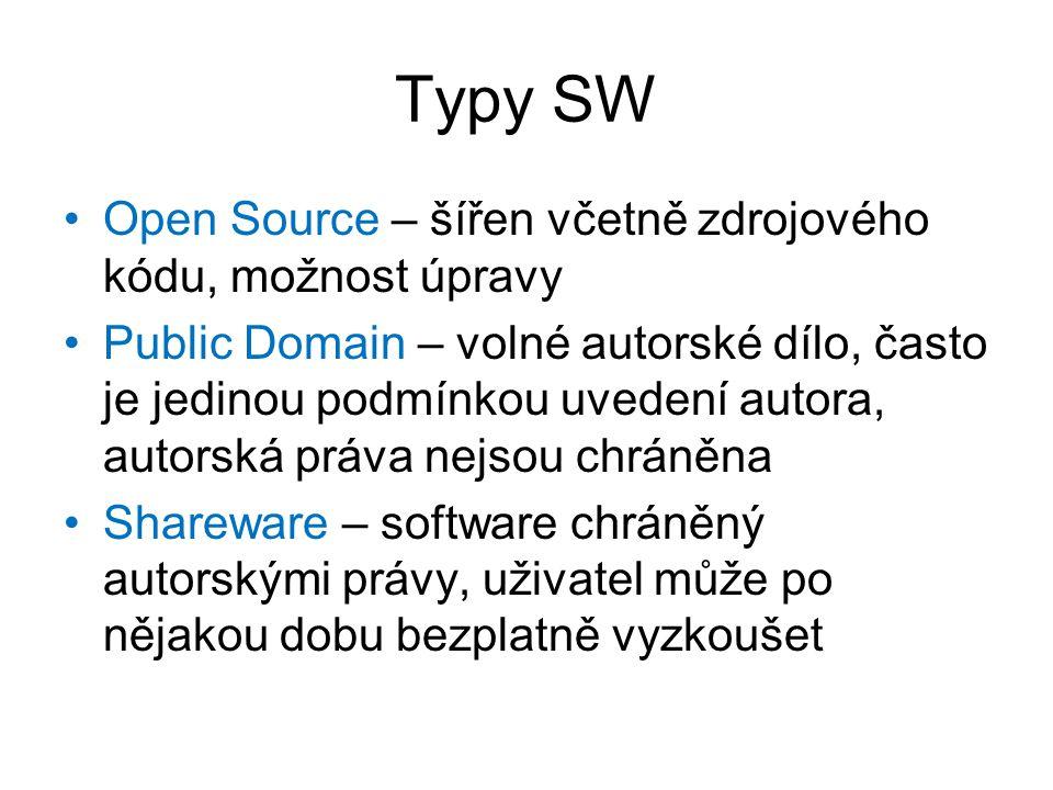 Typy SW Open Source – šířen včetně zdrojového kódu, možnost úpravy Public Domain – volné autorské dílo, často je jedinou podmínkou uvedení autora, autorská práva nejsou chráněna Shareware – software chráněný autorskými právy, uživatel může po nějakou dobu bezplatně vyzkoušet