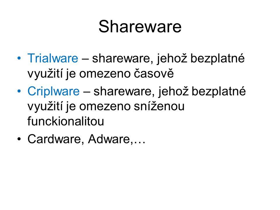 Shareware Trialware – shareware, jehož bezplatné využití je omezeno časově Criplware – shareware, jehož bezplatné využití je omezeno sníženou funckionalitou Cardware, Adware,…