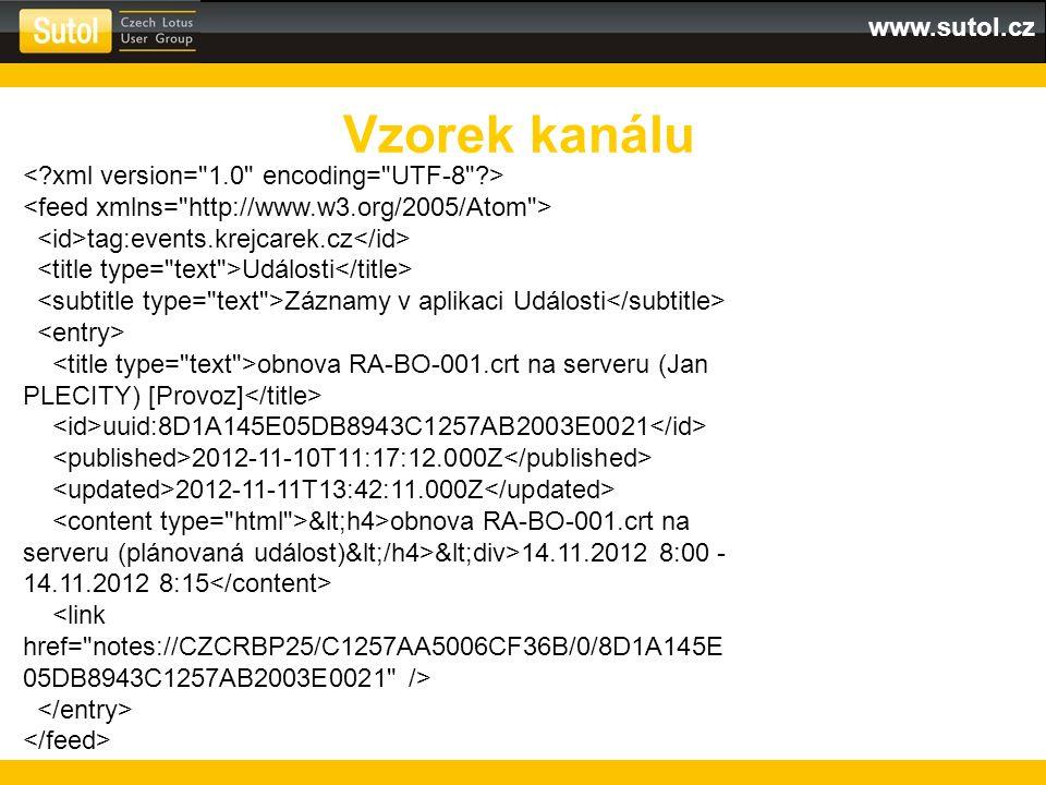 www.sutol.cz Vzorek kanálu tag:events.krejcarek.cz Události Záznamy v aplikaci Události obnova RA-BO-001.crt na serveru (Jan PLECITY) [Provoz] uuid:8D1A145E05DB8943C1257AB2003E0021 2012-11-10T11:17:12.000Z 2012-11-11T13:42:11.000Z <h4>obnova RA-BO-001.crt na serveru (plánovaná událost)</h4><div>14.11.2012 8:00 - 14.11.2012 8:15