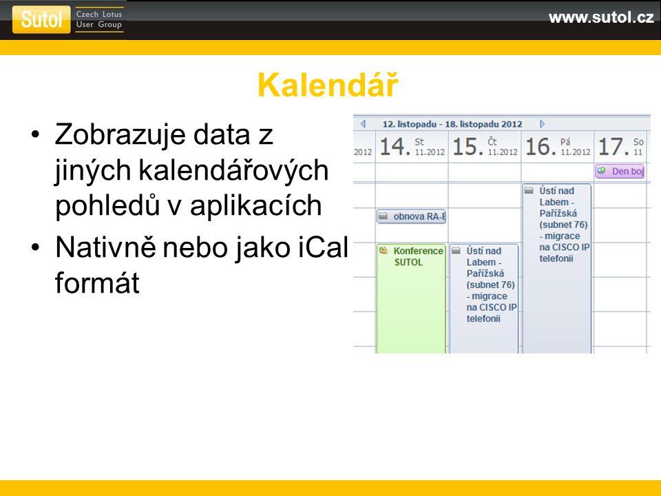 www.sutol.cz 1.Klik na ikonu pro nový widget 2.Typ Web Page 3.Zadat adresu Webová stránka v postranním panelu