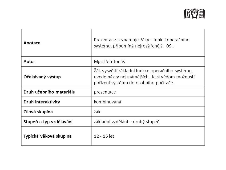 Anotace Prezentace seznamuje žáky s funkcí operačního systému, připomíná nejrozšířenější OS. AutorMgr. Petr Jonáš Očekávaný výstup Žák vysvětlí základ