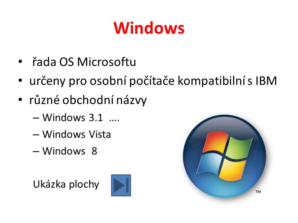 Windows řada OS Microsoftu určeny pro osobní počítače kompatibilní s IBM různé obchodní názvy – Windows 3.1 …. – Windows Vista – Windows 8 Ukázka ploc