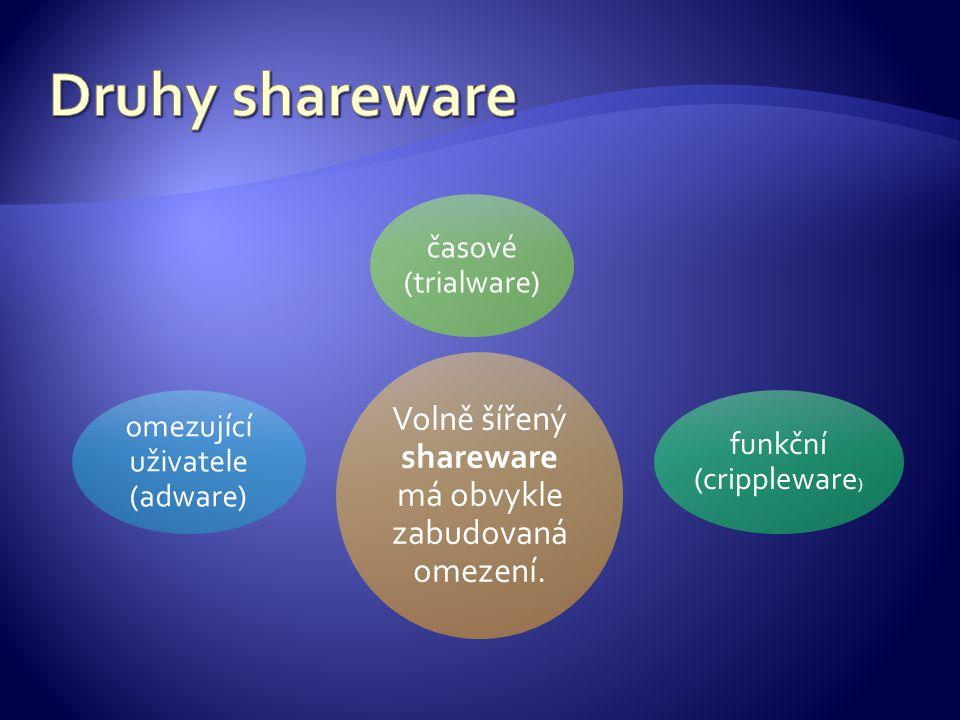 Volně šířený shareware má obvykle zabudovaná omezení.