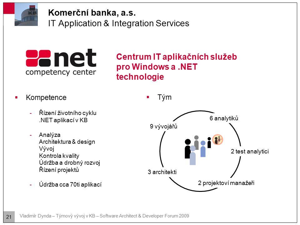 21 Vladimír Dynda – Týmový vývoj v KB – Software Architect & Developer Forum 2009 Komerční banka, a.s. IT Application & Integration Services Centrum I