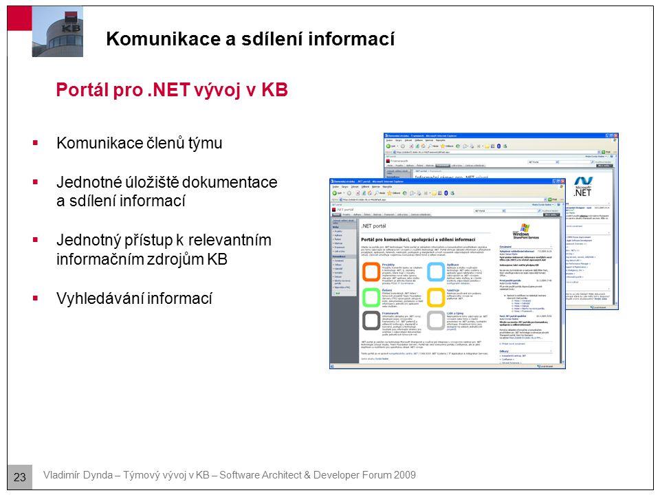 23 Vladimír Dynda – Týmový vývoj v KB – Software Architect & Developer Forum 2009 Komunikace a sdílení informací Portál pro.NET vývoj v KB  Komunikac