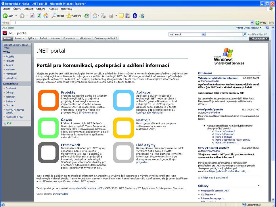 25 Vladimír Dynda – Týmový vývoj v KB – Software Architect & Developer Forum 2009 Komunikace a sdílení informací