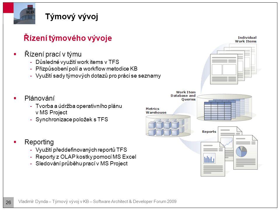 26 Vladimír Dynda – Týmový vývoj v KB – Software Architect & Developer Forum 2009 Týmový vývoj Řízení týmového vývoje  Řízení prací v týmu -Důsledné