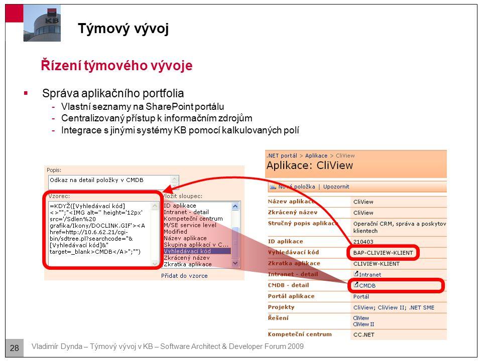 28 Vladimír Dynda – Týmový vývoj v KB – Software Architect & Developer Forum 2009 Týmový vývoj Řízení týmového vývoje  Správa aplikačního portfolia -
