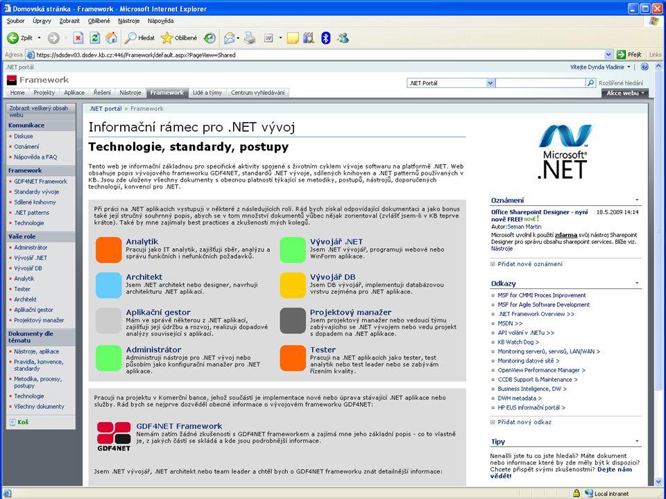 30 Vladimír Dynda – Týmový vývoj v KB – Software Architect & Developer Forum 2009 Standardy vývoje