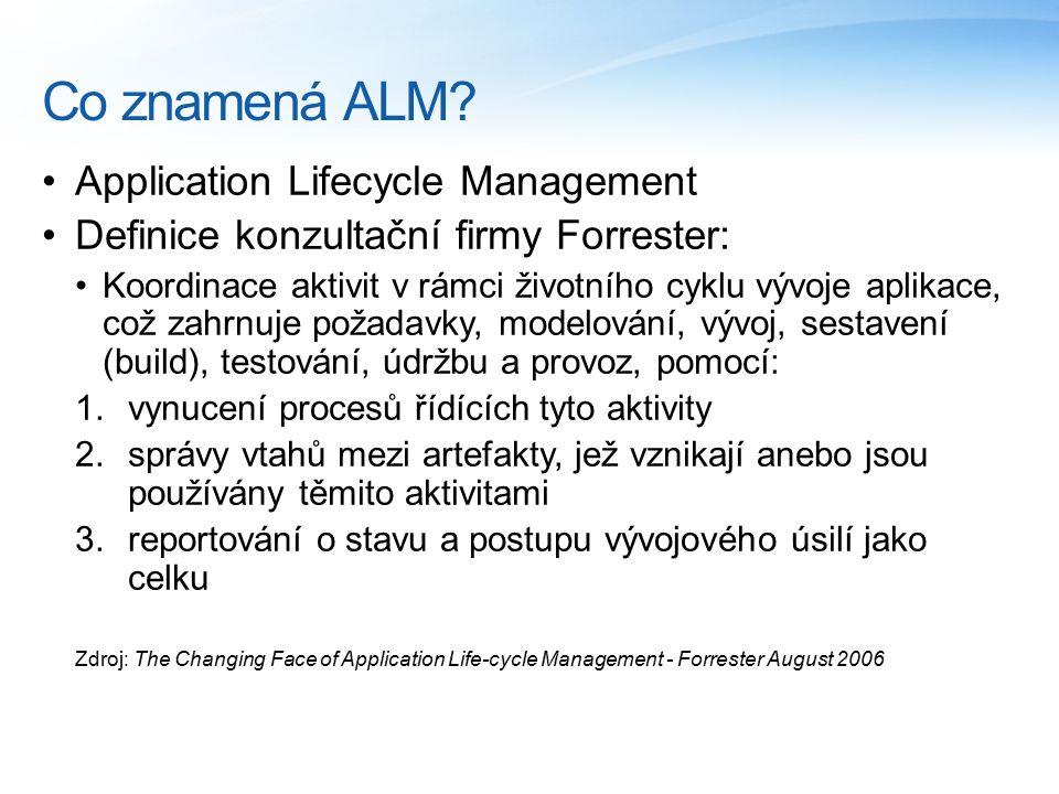 Co znamená ALM? Application Lifecycle Management Definice konzultační firmy Forrester: Koordinace aktivit v rámci životního cyklu vývoje aplikace, což