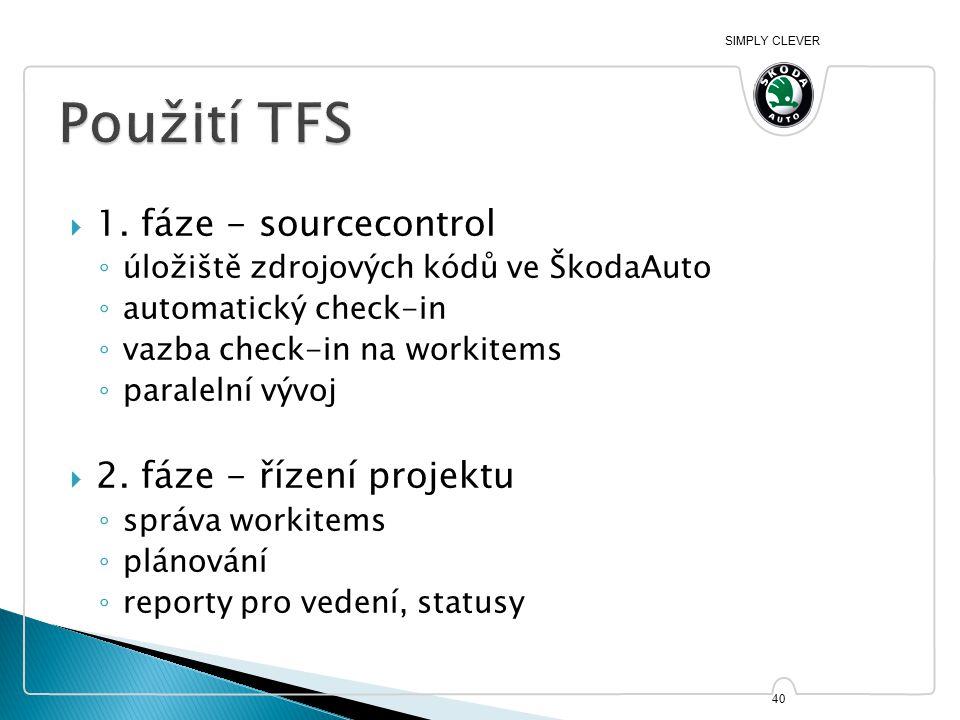 SIMPLY CLEVER  1. fáze - sourcecontrol ◦ úložiště zdrojových kódů ve ŠkodaAuto ◦ automatický check-in ◦ vazba check-in na workitems ◦ paralelní vývoj
