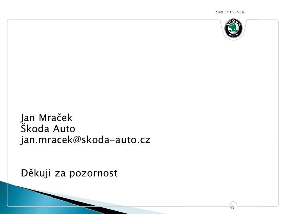 SIMPLY CLEVER Jan Mraček Škoda Auto jan.mracek@skoda-auto.cz Děkuji za pozornost 43