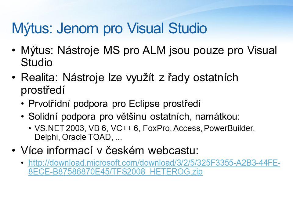 Mýtus: Jenom pro Visual Studio Mýtus: Nástroje MS pro ALM jsou pouze pro Visual Studio Realita: Nástroje lze využít z řady ostatních prostředí Prvotří