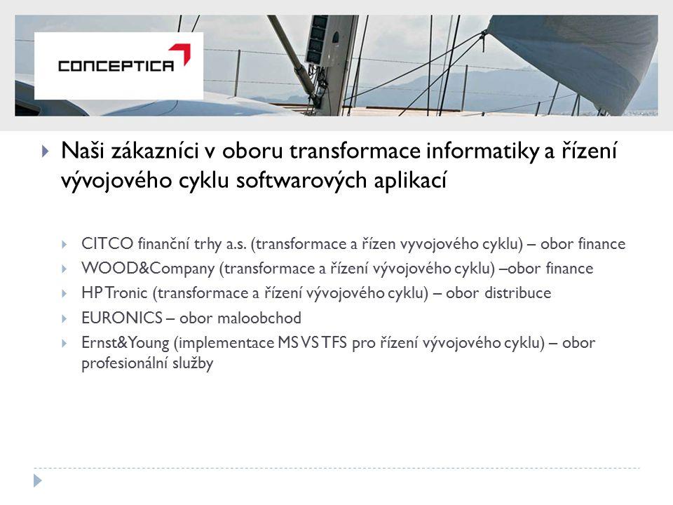  Naši zákazníci v oboru transformace informatiky a řízení vývojového cyklu softwarových aplikací  CITCO finanční trhy a.s. (transformace a řízen vyv