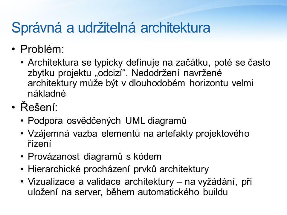"""Správná a udržitelná architektura Problém: Architektura se typicky definuje na začátku, poté se často zbytku projektu """"odcizí"""". Nedodržení navržené ar"""
