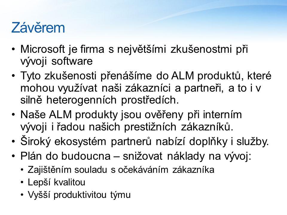 Závěrem Microsoft je firma s největšími zkušenostmi při vývoji software Tyto zkušenosti přenášíme do ALM produktů, které mohou využívat naši zákazníci