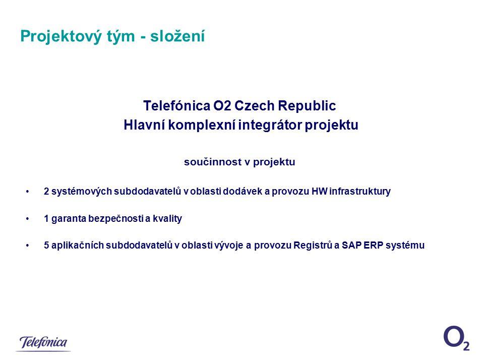 Projektový tým - složení Telefónica O2 Czech Republic Hlavní komplexní integrátor projektu součinnost v projektu 2 systémových subdodavatelů v oblasti