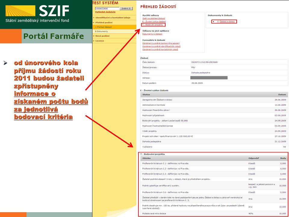 Portál Farmáře  od únorového kola příjmu žádostí roku 2011 budou žadateli zpřístupněny informace o získaném počtu bodů za jednotlivá bodovací kritéri
