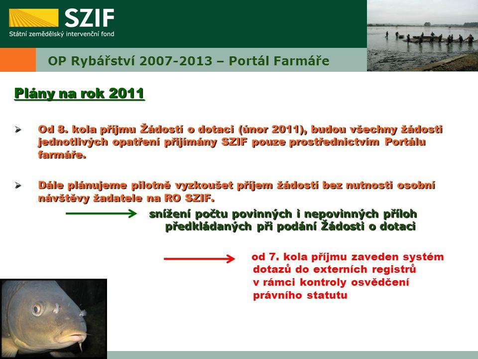 OP Rybářství 2007-2013 – Portál Farmáře Plány na rok 2011  Od 8. kola příjmu Žádostí o dotaci (únor 2011), budou všechny žádosti jednotlivých opatřen