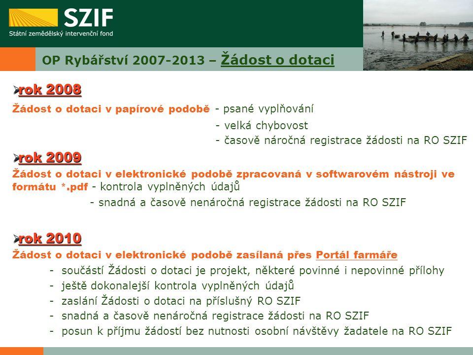 OP Rybářství 2007-2013 – Žádost o dotaci  rok 2008 Žádost o dotaci v papírové podobě - psané vyplňování - velká chybovost - časově náročná registrace