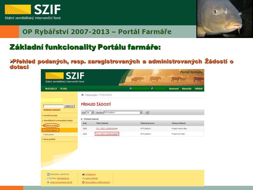 OP Rybářství 2007-2013 – Portál Farmáře Základní funkcionality Portálu farmáře:  Přehled podaných, resp. zaregistrovaných a administrovaných Žádostí