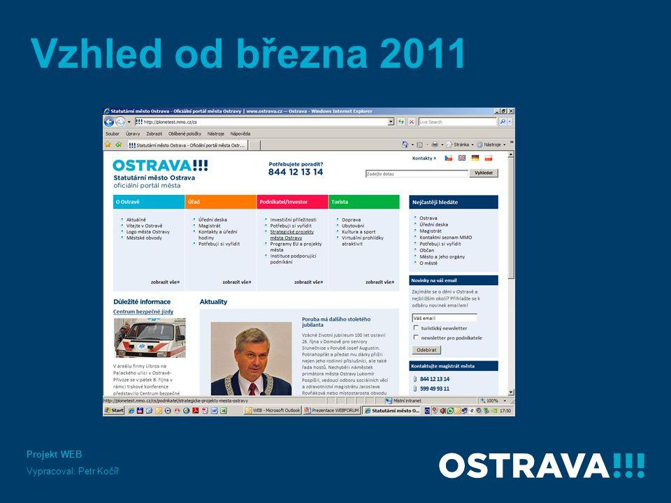 Projekt WEB Vypracoval: Petr Kočíř Vzhled od března 2011