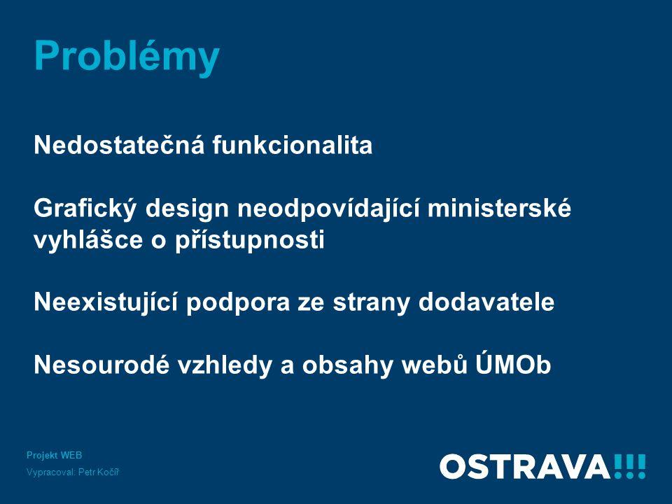 Problémy Nedostatečná funkcionalita Grafický design neodpovídající ministerské vyhlášce o přístupnosti Neexistující podpora ze strany dodavatele Nesou