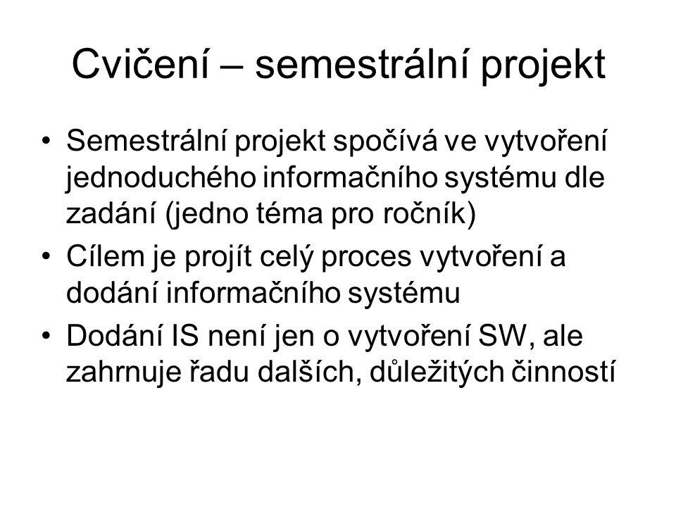 Cvičení – semestrální projekt Semestrální projekt spočívá ve vytvoření jednoduchého informačního systému dle zadání (jedno téma pro ročník) Cílem je p