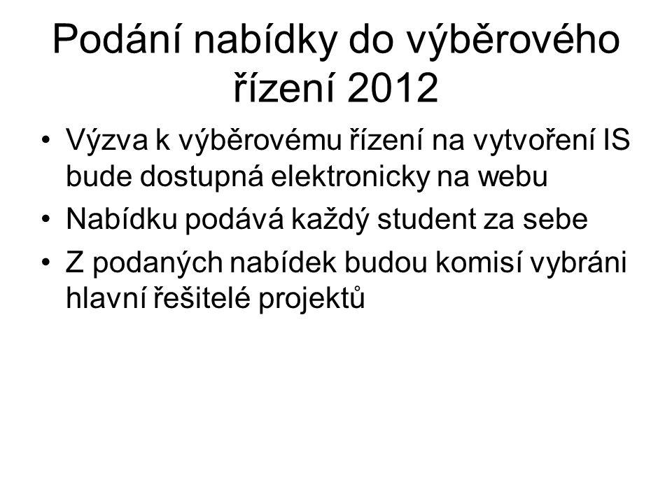 Podání nabídky do výběrového řízení 2012 Výzva k výběrovému řízení na vytvoření IS bude dostupná elektronicky na webu Nabídku podává každý student za