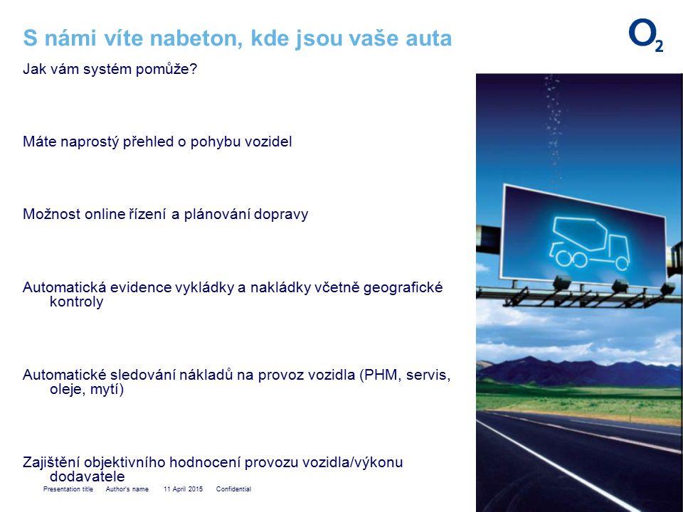 Presentation title Author s name 11 April 2015 Confidential S námi víte nabeton, kde jsou vaše auta Jak vám systém pomůže.