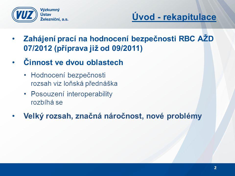 Úvod - rekapitulace Zahájení prací na hodnocení bezpečnosti RBC AŽD 07/2012 (příprava již od 09/2011) Činnost ve dvou oblastech Hodnocení bezpečnosti rozsah viz loňská přednáška Posouzení interoperability rozbíhá se Velký rozsah, značná náročnost, nové problémy 2