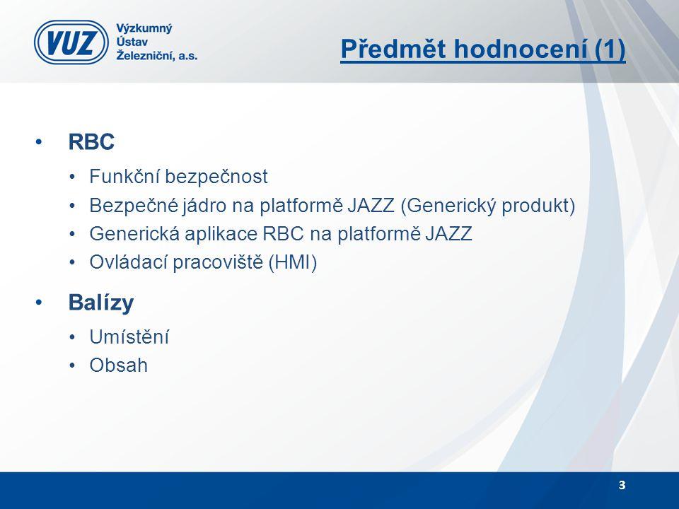 Předmět hodnocení (1) RBC Funkční bezpečnost Bezpečné jádro na platformě JAZZ (Generický produkt) Generická aplikace RBC na platformě JAZZ Ovládací pr