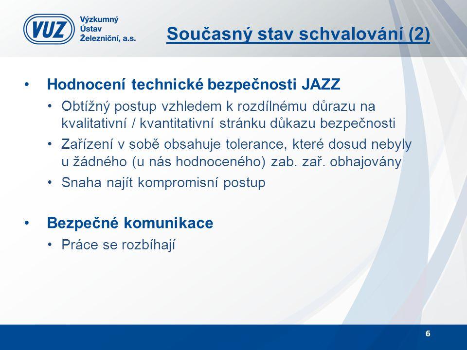 Současný stav schvalování (2) Hodnocení technické bezpečnosti JAZZ Obtížný postup vzhledem k rozdílnému důrazu na kvalitativní / kvantitativní stránku