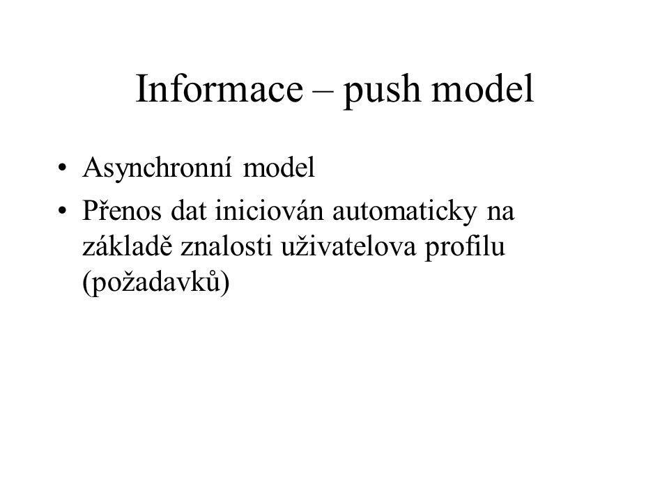 Informace – push model Asynchronní model Přenos dat iniciován automaticky na základě znalosti uživatelova profilu (požadavků)