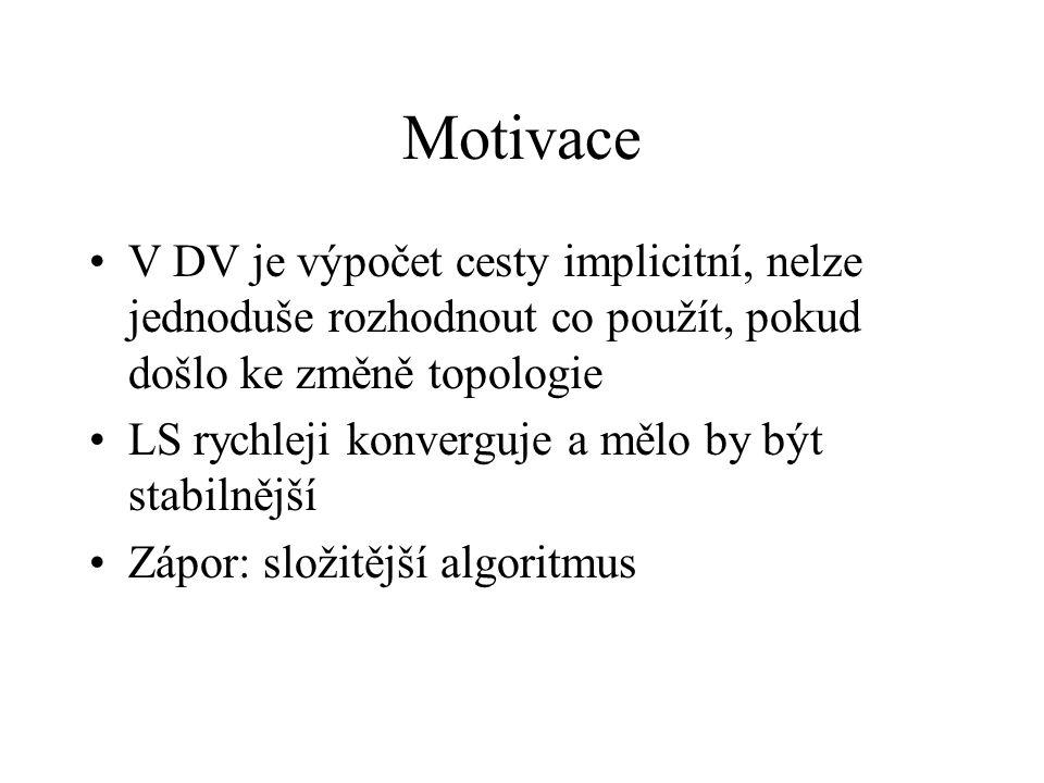 Motivace V DV je výpočet cesty implicitní, nelze jednoduše rozhodnout co použít, pokud došlo ke změně topologie LS rychleji konverguje a mělo by být stabilnější Zápor: složitější algoritmus