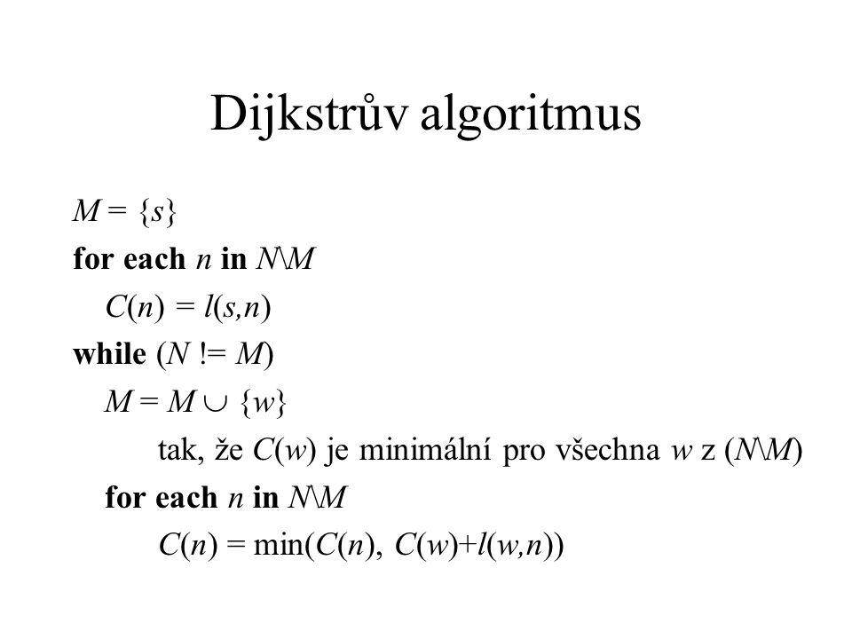 Dijkstrův algoritmus M = {s} for each n in N\M C(n) = l(s,n) while (N != M) M = M  {w} tak, že C(w) je minimální pro všechna w z (N\M) for each n in N\M C(n) = min(C(n), C(w)+l(w,n))