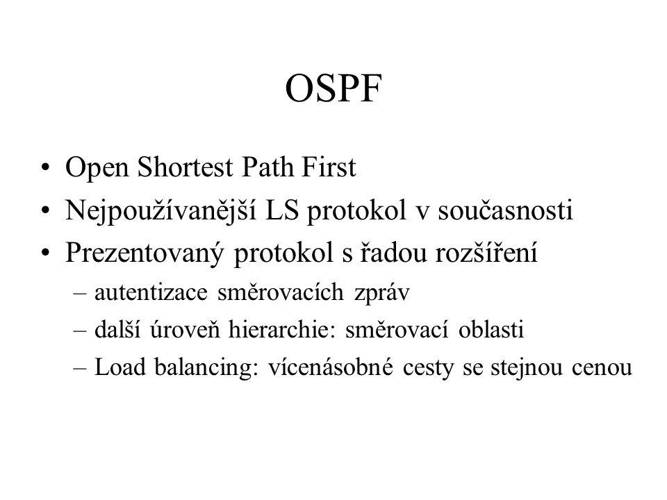 OSPF Open Shortest Path First Nejpoužívanější LS protokol v současnosti Prezentovaný protokol s řadou rozšíření –autentizace směrovacích zpráv –další úroveň hierarchie: směrovací oblasti –Load balancing: vícenásobné cesty se stejnou cenou