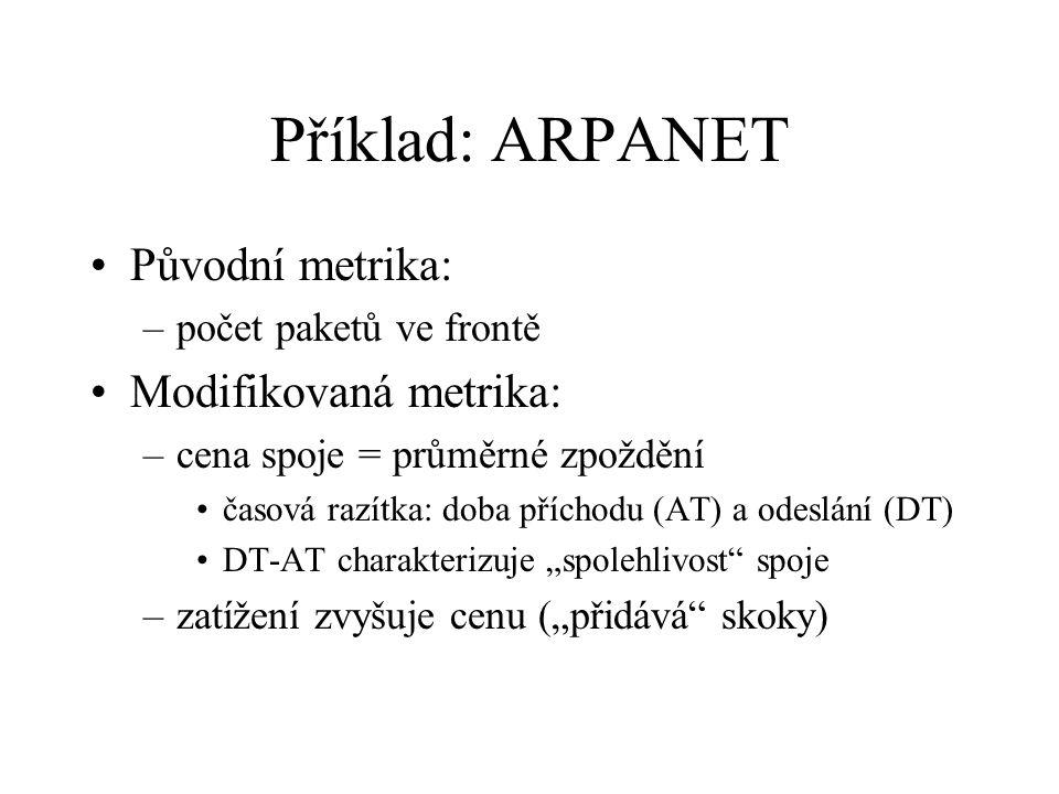 """Příklad: ARPANET Původní metrika: –počet paketů ve frontě Modifikovaná metrika: –cena spoje = průměrné zpoždění časová razítka: doba příchodu (AT) a odeslání (DT) DT-AT charakterizuje """"spolehlivost spoje –zatížení zvyšuje cenu (""""přidává skoky)"""