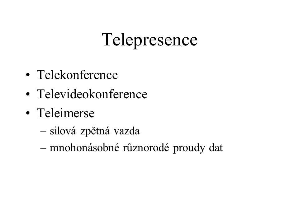 Telepresence Telekonference Televideokonference Teleimerse –silová zpětná vazda –mnohonásobné různorodé proudy dat