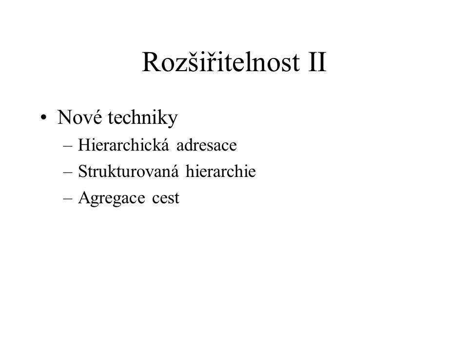Rozšiřitelnost II Nové techniky –Hierarchická adresace –Strukturovaná hierarchie –Agregace cest