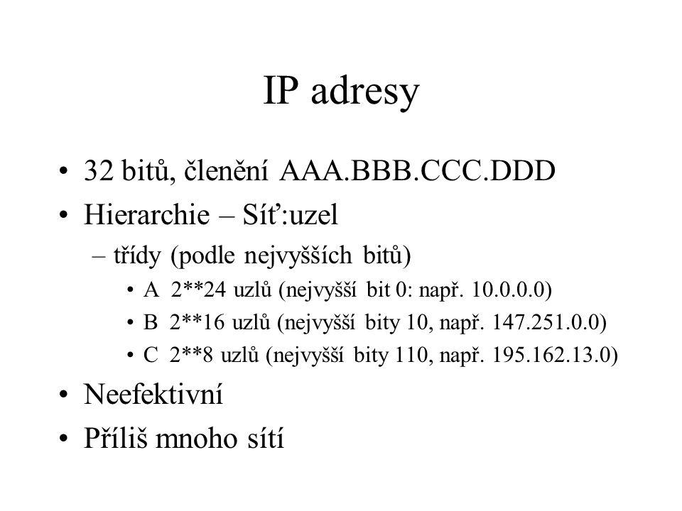 IP adresy 32 bitů, členění AAA.BBB.CCC.DDD Hierarchie – Síť:uzel –třídy (podle nejvyšších bitů) A 2**24 uzlů (nejvyšší bit 0: např. 10.0.0.0) B 2**16