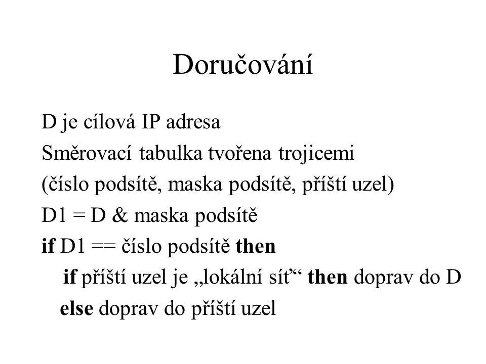 """Doručování D je cílová IP adresa Směrovací tabulka tvořena trojicemi (číslo podsítě, maska podsítě, příští uzel) D1 = D & maska podsítě if D1 == číslo podsítě then if příští uzel je """"lokální síť then doprav do D else doprav do příští uzel"""