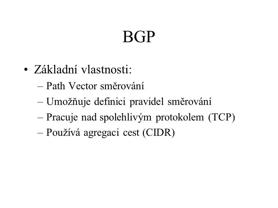 BGP Základní vlastnosti: –Path Vector směrování –Umožňuje definici pravidel směrování –Pracuje nad spolehlivým protokolem (TCP) –Používá agregaci cest